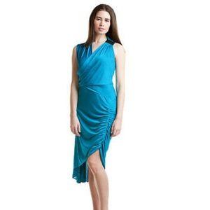BCBGMaxazria Cyan Drape Panel Dress size small